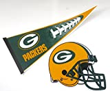 """Green Bay Packers, Wall Decor, One 17"""" X 30"""" Large Pennant Design, and 12"""" X 12"""" Helmet Design , Felt material."""
