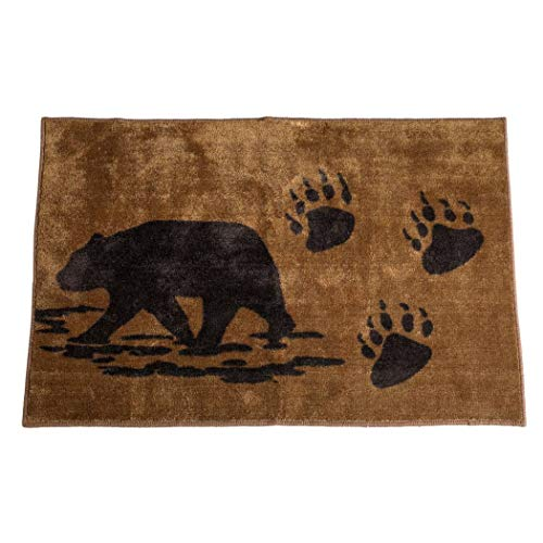 - 1 Piece 24 x 36 Brown Wildlife Black Bear Prints Bath Rug Rectangle, Indoor Bear Paw Prints Carpet Mat, Animal Pattern Nature Forest Outback Hunting Western Cabin Lodge Cottage Acrylic