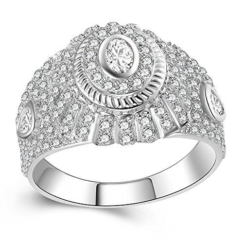 HSG 925 Sterling Silver Cubic Zirconia CZ Engagement Wedding Men's Ring Size 11