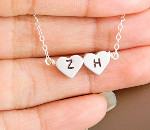 Personalized TWO Heart Charm Monogram Necklace, Couple Initi