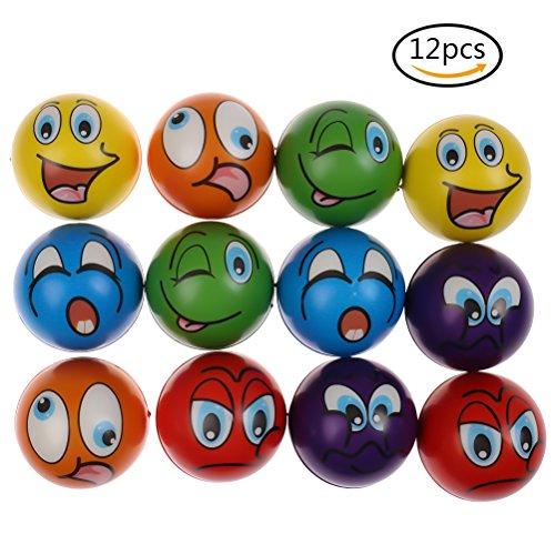 CoscosX 12 Pcs Funny Face Squishy Balls Squeeze Emoji Stress-Relief Balls (Stress Ball Golf Ball)