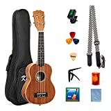 Ukulele Beginner Kit 21 inch Soprano Ukelele Hawaii Guitar With Tuner String Picks (Mahogany Wood)