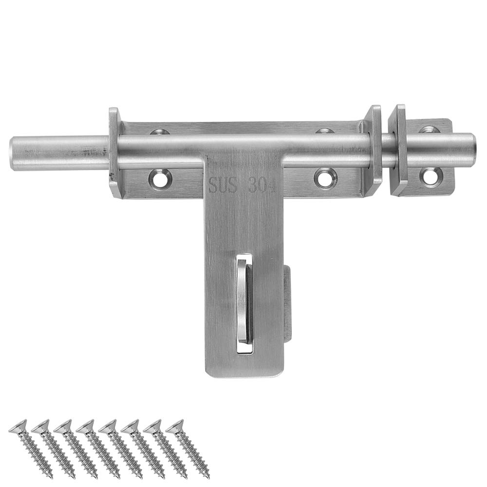 JQK Sliding Bolt Gate Latch, 6.7 Inch (Thick 3.4mm) Heavy Duty 304 Stainless Steel Barrel Bolt with Padlock Hole, Interior Door Latches Brushed Finish, DL310-BN