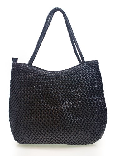 PROYA Collection Classic Double Layer Woven Basket Weave Hobo (Black Basket Woven Leather)