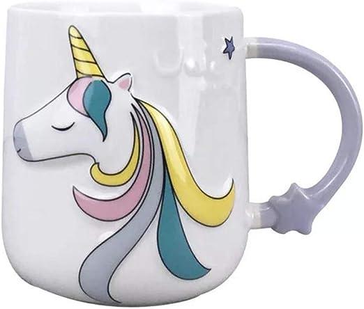 ABYED Unicorno Carino Tazza di Ceramica con Coperchio e Cucchiaio Tazza di marcatore Tazza di caff/è e Latte per Il Regalo della Ragazza Ufficio e casa