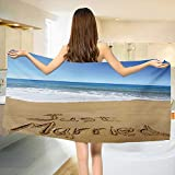 Chaneyhouse Wedding,Baby Bath Towel,Just Married Written on Sandy Beach Ocean Waves Romantic Photo Celebration,Print Wrap Towels,Blue Brown White Size: W 10'' x L 39.5''