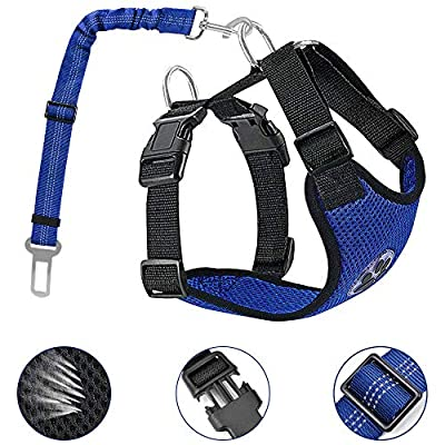 AutoWT Dog Safety Vest Harness, Pet Car Harness Dog Safety Seatbelt Breathable Mesh Fabric Vest with Adjustable Strap for Travel and Daily Use in Vehicle for Dogs Puppy Cats