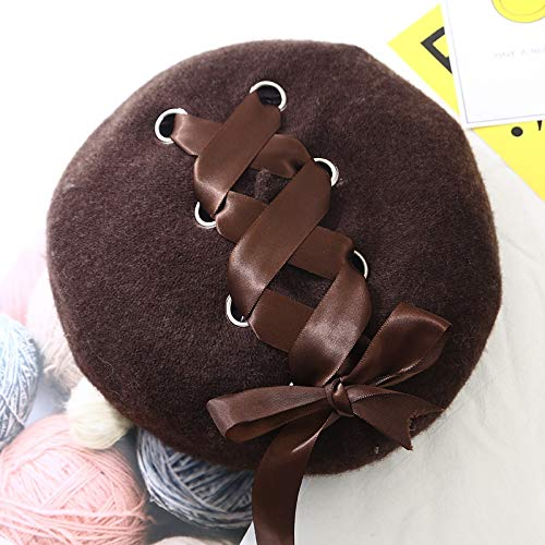 Sinchi Kuzo Wool Winter Berets for Women Bow Lace Vintage Female Warm Vogue Beret Hats Girls Flat Cap Autumn Painter Cap
