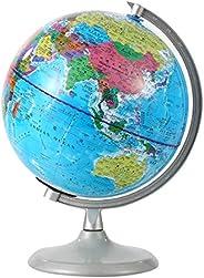 SH-RuiDu 20cm World Globe with Night Light, Practical Standing Educational Geographic Globe with Boundaries Ci
