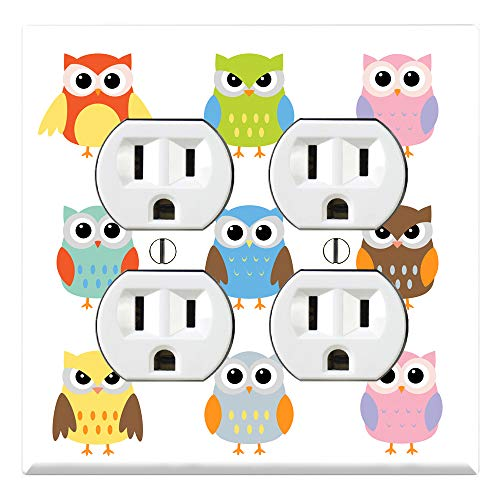 Cover Bedroom Outlet (Graphics Wallplates - Cute Owl - Quadplex Outlet Wall Plate Cover)