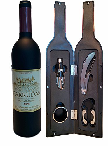 The Large Private Lable French Chateau Bottle Shaped 5 Piece Stainless Steel Wine Tool Set 12 3/4
