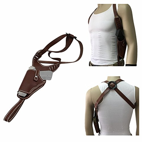 (FIRECLUB Vertical Genuine Leather Handbag Shoulder Right Hand Gun Holster Suitable for Middle Frame Automatic Guns)