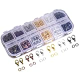 Dcatcher Mixed Color Lobster Claw Clasps and Open Jump Rings with Case for Jewelry Making Findings Purses