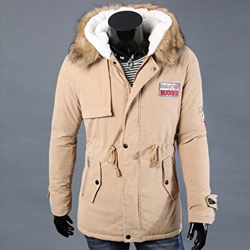KaloryWee Invierno Hombre Otoño Hombres para Abrigo con Abrigo largos Cremallera Hombre algodón capucha Caqui de tqBrwqEx