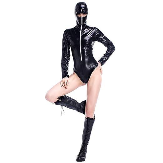 HGUIAZ Mujer Catsuit Bodysuit con PU Faux Cuero único Juego ...