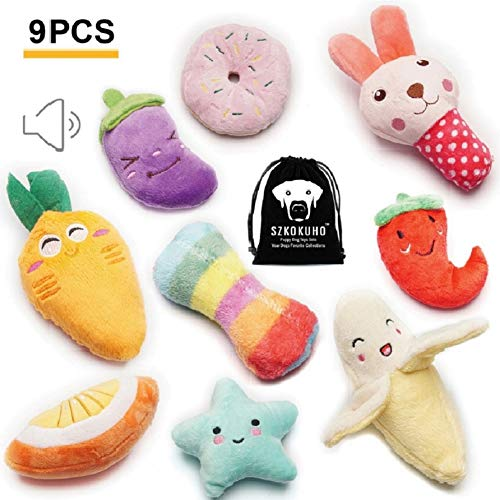SZKOKUHO 9 Pack Puppy Squeaky Plush Dog Toys Set for Small Dogs to Bite Anytime,Variety Colors & Categories