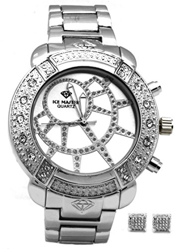 Master Pave Metal Band Cz Silver Tone Face Hiphop Men's Bling Bling Wrist Watch Watches and Free Earrings Set