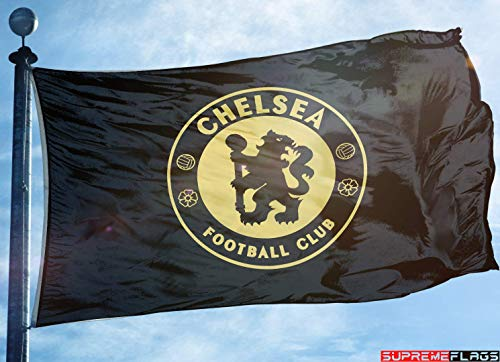 (Chelsea Flag Banner 3x5 ft England Premier Football Soccer Black Gold Premium)