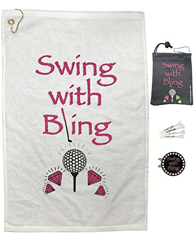 Giggle Golf Par 3 - Swing With Bling Towel, Tee Bag And Bling Ball Marker With Hat Clip - Perfect Golf Gift For Women -