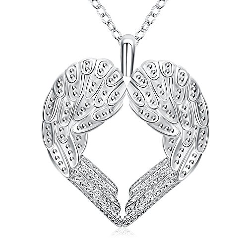 Christmas Gifts for Mom Women Teen Girls Angel Winged Open Heart Crystal Pendant Necklace