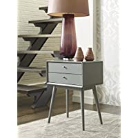 Elle Decor Rory Two Drawer Side Table, French Gray