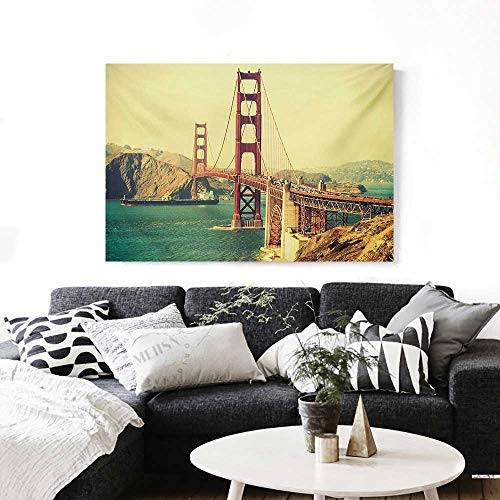 Vintage The Picture for Home Decoration Old Film Featured Golden Gate Bridge Suspension Urban Path Construction Scenery Customizable Wall Stickers 24