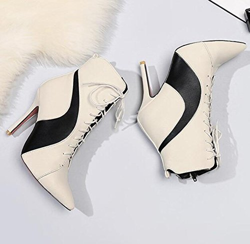 Pointed Stiletto Zipper Color Trendy Side Toe Easemax Heel Boots Womens High White Contrasting qnxvw0aw1