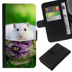 All Phone Most Case / Oferta Especial Cáscara Funda de cuero Monedero Cubierta de proteccion Caso / Wallet Case for Sony Xperia M2 // Cute Mouse Summer Pet White Sweet