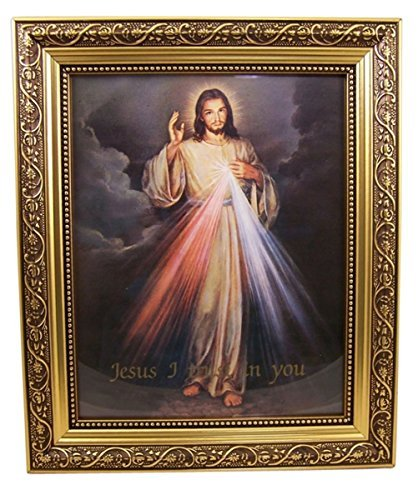 The Divine Mercy Jesus Christ Print in 13 Inch Gold Finish Frame by Gerffert (Picture Jesus)