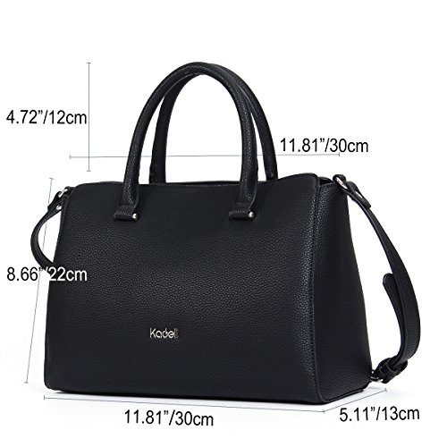 Womens Large Shoulder Purse Handle Casual Bags Vintage White Soft Kadell Retro Top Tote Capacity Handbags Black Leather dIqHxx71w