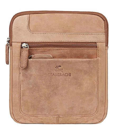Leaderachi – 100% Pure  Hunter Leather  Men Crossover Shoulder Messenger Sling Bag