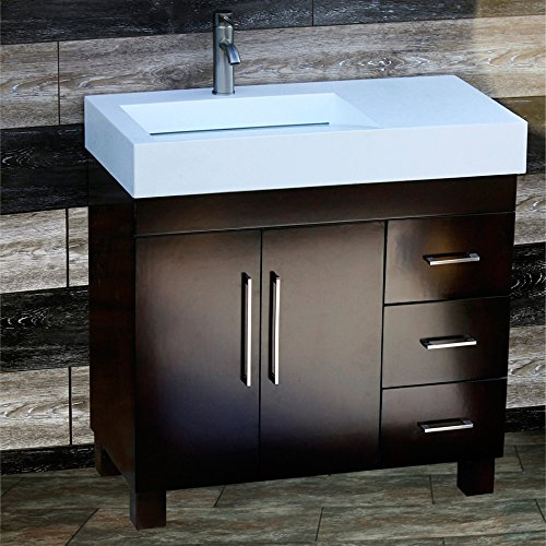 """36"""" Bathroom Vanity 36-inch Cabinet Solid Surface Top with integrated Sink + Faucet CM1"""