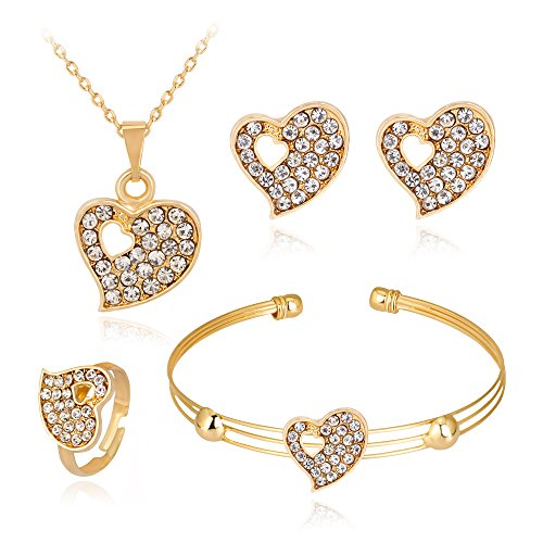 Creazy Lady Women Personality Rhinestone Necklace Bracelet Ring Earrings Jewelry Set (D)