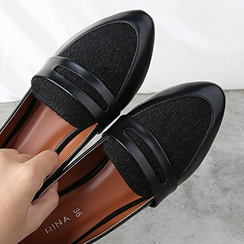 &qq Zapatos planos, zapatos de viento británicos, casual zapatos de tacón bajo , 36 , black 39