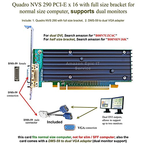 (Epic IT Service - Quadro NVS 290 low profile card (full size bracket, DMS-59 to dual VGA adapter))