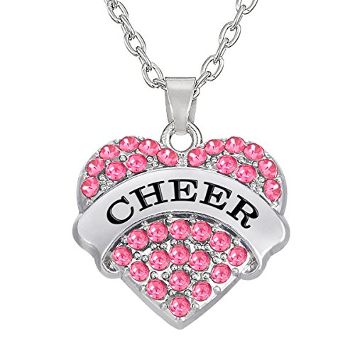 Kebaner Cheer Pink Crystal Heart Pendant Necklace Sports Fan Medal Gift Fashion Jewelry for Teen -