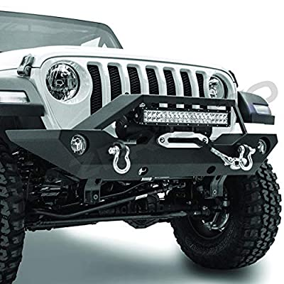 "Razer Auto Black Textured Rock Crawler Front Bumper w/Winch Plate & 2x D-Ring & Fog Light Hole & Built-In 21~23"" LED Light bar mount for 18-19 Jeep Wrangler JL"