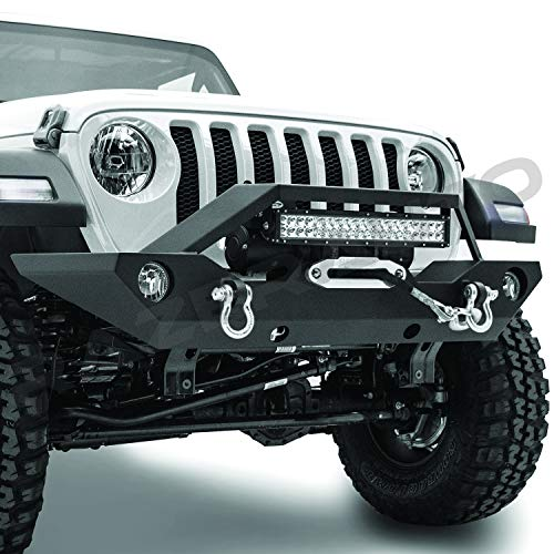 Razer Auto Black Textured Rock Crawler Front Bumper w/Winch Plate & 2x D-Ring & Fog Light Hole & Built-In 21~23