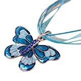 Clearance!Womens Enamel Butterfly Crystal Silver Personalized Pendant Necklace by Kimloog (Blue)