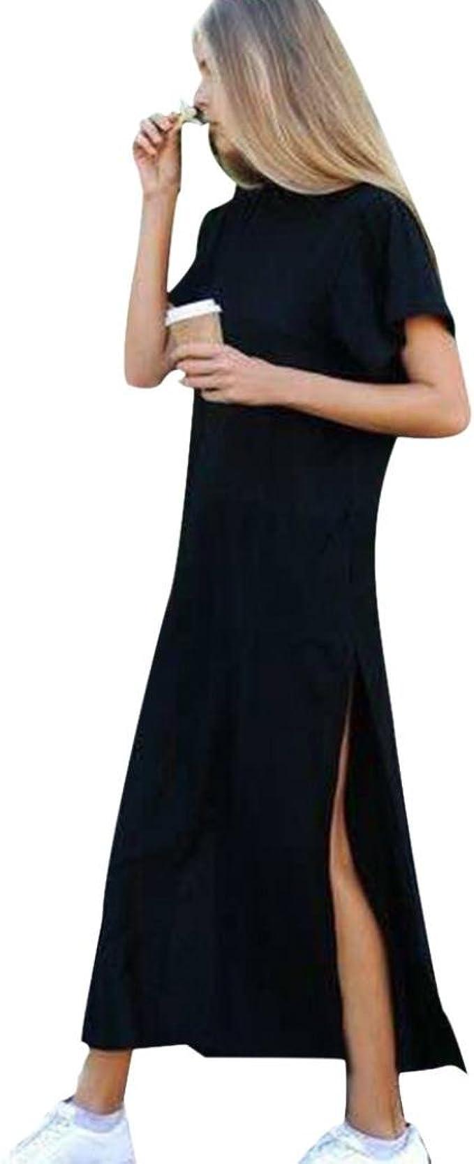 Bekleidung Longra Damen Sommer Baumwolle Kleid Seite hohe Schlitz Schwarze  Kurze Ärmel Kleid T-Shirt-Kleider