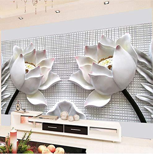 Mbwlkj 3D Wall Murals Wallpaper Modern 3D Stereo Relief Lotus Flower Photo Wallpaper for Living Room Sofa Tv Background-250Cmx175Cm