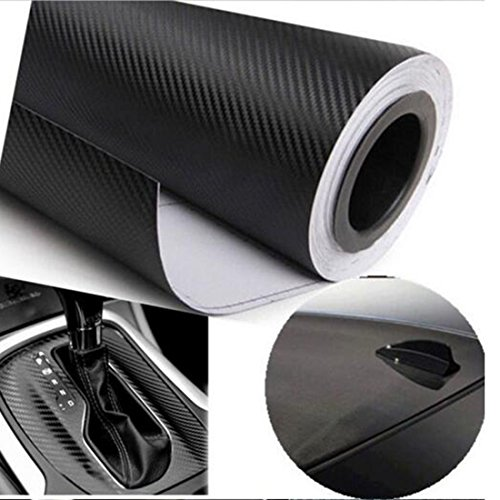 EASYTAR 12 by 50 inches 3D Carbon Fiber Vinyl Film Car Motorcycle Wrap Film Sticker(Black)