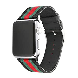 Li Shengxia Apple Watch Band, Nylon with Genuine Leather Sport Replacement Strap Wrist Band with Metal Adapter Clasp for 42mm Apple ...