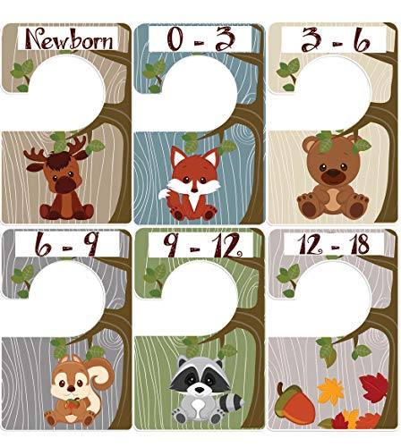 Woodland Animals 6 baby closet size dividers Closet Doodles by Digitaldoodlebug