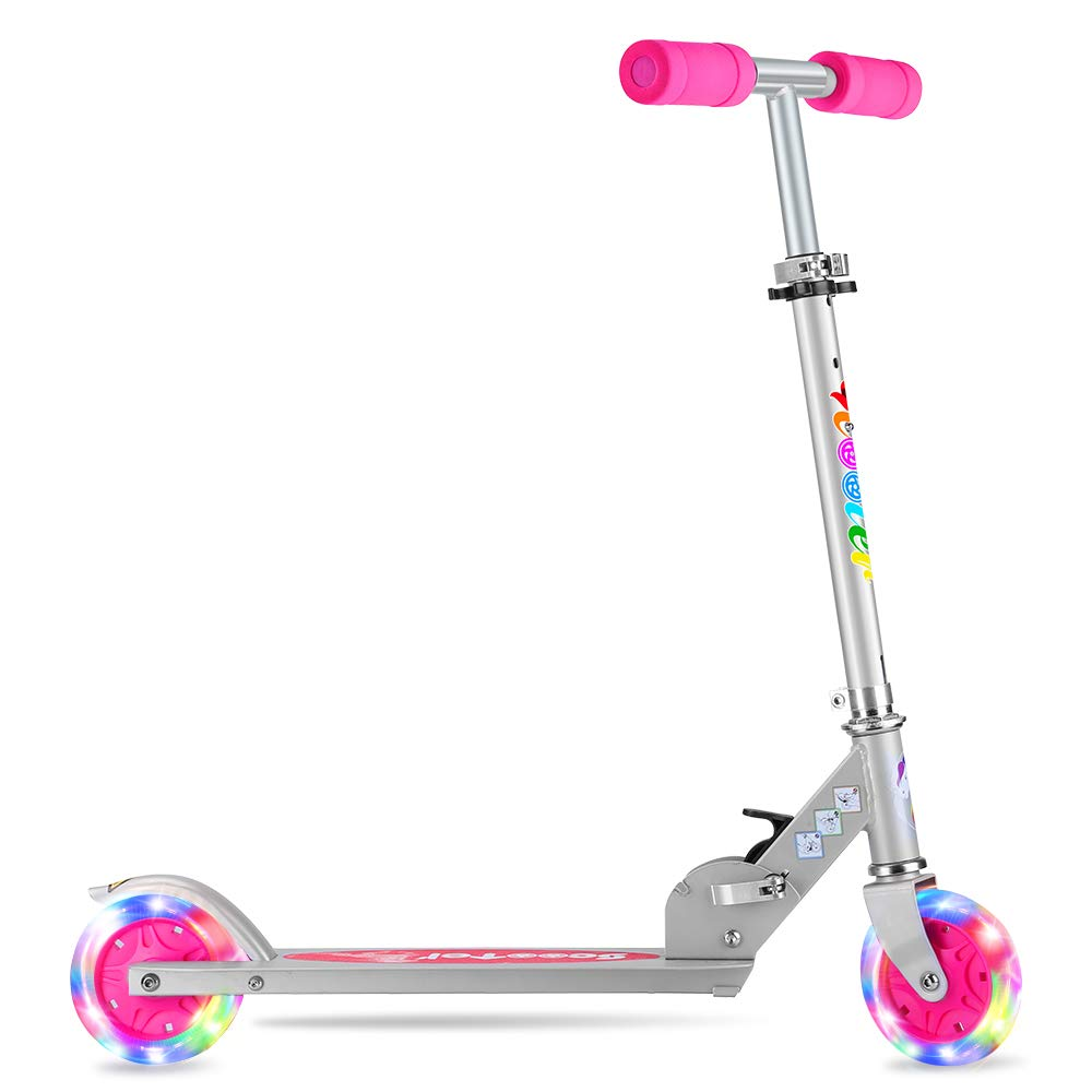 BELEEV V1 Folding Kick Scooter for Kids 2 Wheel Scooter for Girls Boys, CSPC&ASTM Safety Certified, 3 Adjustable Height, LED Light Up Wheels for Children 4 Years and up (Pink)