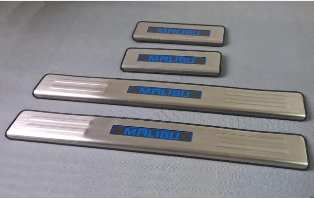 BTSDLXX 4Pcs Coche Acero Inoxidable Externo Barra Umbral Puerta, para Chevrolet Malibu 2012-2014 LED Bienvenido Patada Pedal Door Sill Desgaste, Pegatinas Tiras Proteccion Accesorios