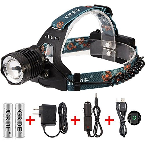 Zoomable Headlamp 3-Mode 1800Lumens Rechargeable LED Flashlight Water-resistant Head Torch+ 2 X 18650 Rechargeable Batteries+ Wall Charger+ Car Charger+ Headlight Special USB Cable