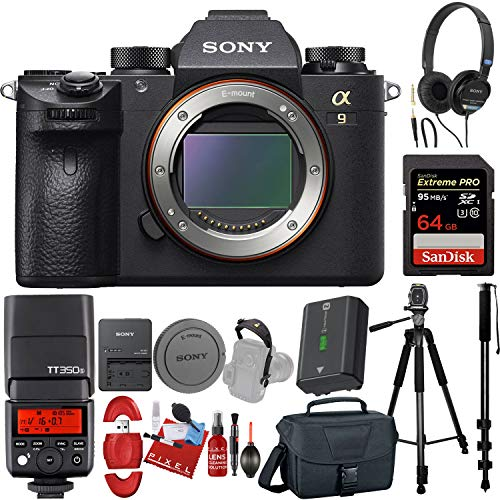 Sony Alpha a9 Mirrorless Digital Camera (Body Only) + Speedlite Flash + 64GB Memory Card + Monopod + Tripod + Carrying Case + Much More!