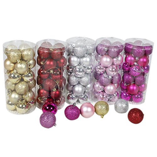 Peitero Ball Ornaments Exquisite Colorful Balls Decorations Pendant Pack of 24pcs (5cm,Rose red) from Peitero