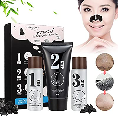Blackhead 3 Step Kit, LuckyFine - Skin Care Peeling Treatment Mask, Pore Cleanser Shrinking Pores Black Head Remover